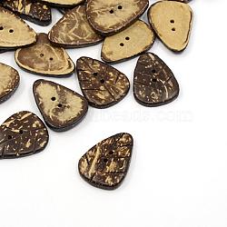 Boutons de noix de coco, 2-trou, feuille, café, 29x21x4mm, Trou: 1.5mm(COCO-I002-004)