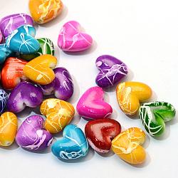 Спрей окрашены волочильных бусы акриловые, сердце, разноцветные, 15x17x8~8.5 мм, Отверстие : 2 мм ; около 370 шт / 500 г(ACRP-S665-M)
