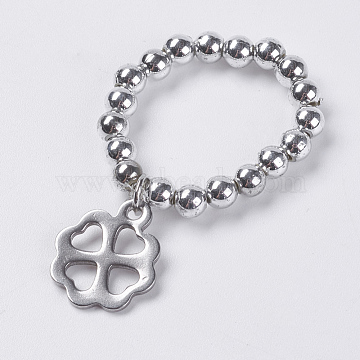 Acrylic Bead Stretch Rings, with 304 Stainless Steel Pendant, Hollow Clover, Size 10, Platinum, 20mm(RJEW-JR00209-02)