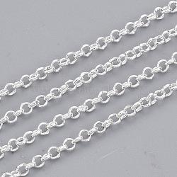 chaînes rolo en laiton soudé, avec bobine, plaqué argent, 2x0.6 mm.(X-CHC-S008-002F-S)
