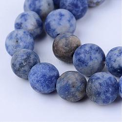 perles de jaspe tache bleue naturelle, givré, arrondir, 8~8.5 mm, trou: 1 mm; environ 47 perle / brin, 15.5(G-Q462-8mm-06)