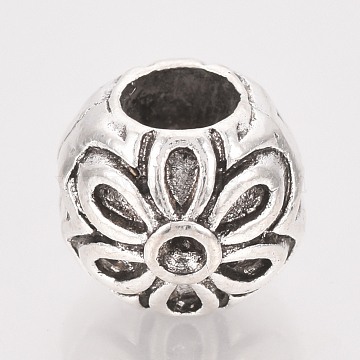 Tibetan Style Alloy European Bead Rhinestone Settings, Large Hole Beads, Rondelle with Flower, Cadmium Free & Lead Free, Antique Silver, Fit for 1mm Rhinestone; 8.5x10x9.5mm, Hole: 4.5mm; about 380pcs/1000g(TIBE-T011-15AS-LF)