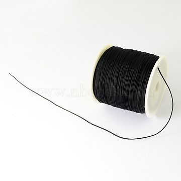 Braided Nylon Thread, Chinese Knotting Cord Beading Cord for Beading Jewelry Making, Black, 0.5mm; about 150yards/roll(NWIR-R006-0.5mm-900)