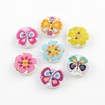 2-Hole Flower Pattern Printed Wooden Buttons, Flat Round, Mixed Color, 15x4mm, Hole: 2mm(BUTT-R033-021)