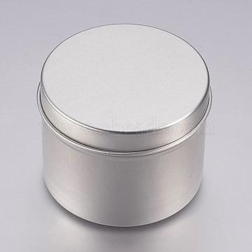 Round Aluminium Tin Cans, Aluminium Jar, Storage Containers for Cosmetic, Candles, Candies, with Slip-on Lid, Platinum, 6x4.75cm; Capacity: 60ml(2.02 fl. oz)(CON-L007-03-60ml)