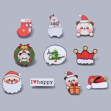 Christmas Theme Acrylic Safety Brooches, with Iron Pin, Mixed Color, 10pcs/set(JEWB-X0001-06)