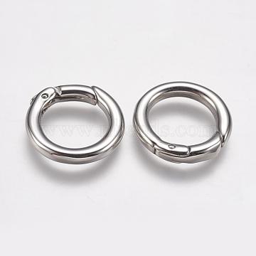 304 Stainless Steel Spring Gate Rings, O Rings, Ring, Stainless Steel Color, 9 Gauge, 17.5x3mm; Inner Diameter: 12mm(X-STAS-K171-50P)