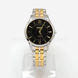 Fashionable Classical Men's Two Tone Alloy Quartz Wristwatches, with Stainless Steel Watch Bands, Stainless Steel Color & Golden, 75mm(WACH-M088-03)