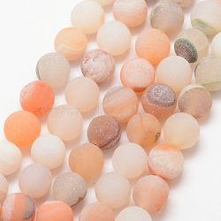 """Chapelets de perle en agate géode druzy naturelle, mat, rond, teints et chauffée, Grade a, peachpuff, 8mm, trou: 1mm; environ 47 pcs/chapelet, 15""""(X-G-K166-09-8mm-02)"""