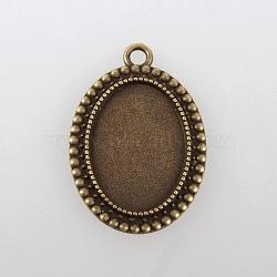 Supports de pendentif de cabochon en alliage de style tibétain vintage, sans nickel, bronze antique, plateau ovale: 18x25 mm; 36x26x2.5 mm, Trou: 3mm(X-TIBEP-M018-105AB-NF)