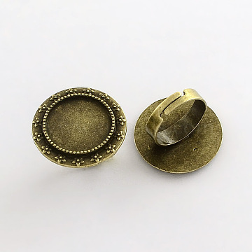 Vintage Adjustable Iron Finger Ring Components Alloy Cabochon Bezel Settings, Lead Free & Cadmium Free & Nickel Free, Antique Bronze, 17x5mm; Flat Round Tray: 18mm(X-PALLOY-Q300-22AB-NR)