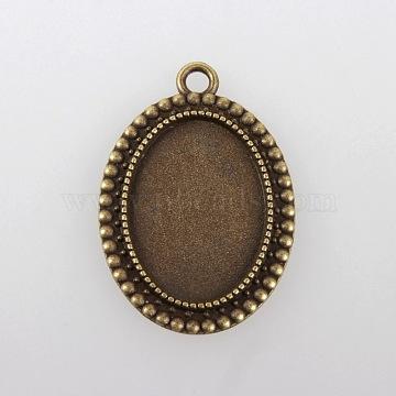 Vintage Tibetan Style Alloy Pendant Cabochon Bezel Settings, Cadmium Free & Nickel Free & Lead Free, Antique Bronze, Oval Tray: 18x25mm, 36x26x2.5mm, Hole: 3mm(X-TIBEP-M018-105AB-NF)