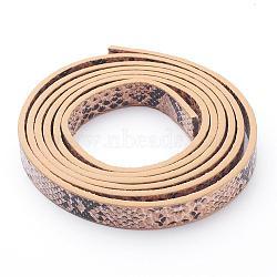 Cordon en cuir PU, peau de serpent imitation, tan, 10x2 mm; environ 1.2 m / brin(X-LC-D005-04)