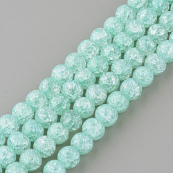 синтетический хрустят кварц бисер пряди, вокруг, окрашенный, paleturquoise, 8 mm, отверстия: 1 mm; о 50 шт / прядь, 15.7(X-GLAA-S134-8mm-11)