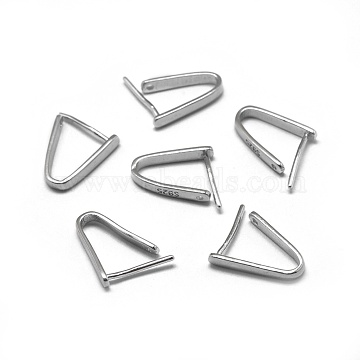 925 Sterling Silver Pendant Bails, Carved with S925, Ice Pick & Pinch Bails, Platinum, 12x2mm; Pin: 0.6mm; Inseam Length: 10mm(X-STER-L057-080A-P)