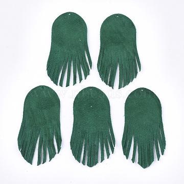 Environmental Sheepskin Leather Tassel Big Pendants, DarkGreen, 60x27x1mm, Hole: 1.2mm(X-FIND-S301-14B)