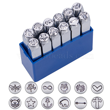 Iron Seal Stamps, Stamping Tools, for Leather Craft, Mixed Patterns, Platinum, 65.5x10mm, 12pcs/box(AJEW-L060-02)