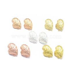 Accessoires de clou d'oreille en alliage, avec boucle, goupilles en laiton et écrous d'oreille / dos de boucle d'oreille, Plaqué longue durée, cœur, couleur mixte, 20x20mm, trou: 1.6 mm; broches: 0.7 mm(PALLOY-F255-26)