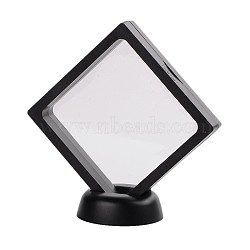 Plastic Frame Stands, with Transparent Membrane, For Ring, Pendant, Bracelet Jewelry Display, Rhombus, Black, Frame: 11x11cm, Bottom Round Base: 5.5x1.7cm(X-ODIS-N010-03A)