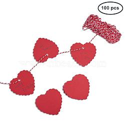 vitrines de bijoux étiquettes de prix en papier, avec corde de chanvre, chaîne de chanvre, cordon de ficelle de chanvre, cœur, rouge, 60x60 mm; 100 pcs / set; cordon: environ 20 m(CDIS-PH0001-05D)