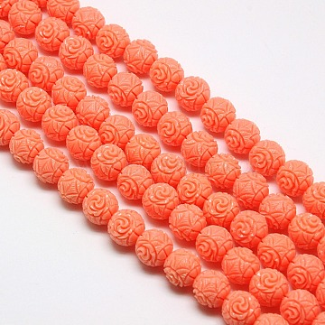 Synthetic Coral Beads Strands, Dyed, Round Beads Carved Flower Rose, Coral, 8mm, Hole: 1mm; about 52pcs/strand, 15.74inches(X-CORA-L032-8mm-08)
