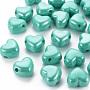 Opaque Acrylic European Beads, Large Hole Beads, Pearlized, Heart, Light Sea Green, 19.5x21.5x14.5mm, Hole: 4mm