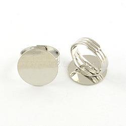Supports plats anneau de garniture en laiton rondes, accessoires de bague réglables, sans nickel, platine, plateau: 20 mm; 18 mm(X-MAK-S033-018P-NF)