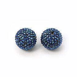 Коренастый смолы горный хрусталь жевательная резинка мяч бусины, круглые, темно-синие, 20 мм, отверстие : 4 мм(X-RESI-M011-11)