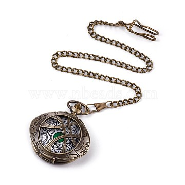 Alloy Pendant Necklace Quartz Pocket Watches, with Iron Chains and Lobster Claw Clasps, Oval, Antique Bronze, 16.93 inches(43cm), Watch Head: 64.5x53.5x17mm, Watch Face: 36mm(WACH-L044-11AB)