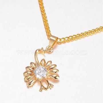 Golden Clear Flower Brass+Cubic Zirconia Pendants