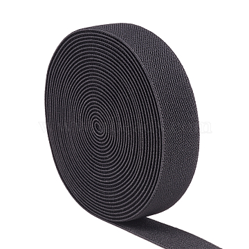 Flat Elastic Rubber Cord/Band, Webbing Garment Sewing Accessories, Black, 24.5x2mm, about 5.46 yards(5m)/roll(EC-WH0006-01A)
