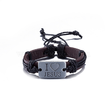 Unisex Trendy Leather Cord Bracelets, with Carved Words Rectangle Alloy Findings, Black, Antique Silver, 300mm(BJEW-BB15607-D)