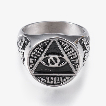316 Surgical Stainless Steel Signet Rings for Men, Wide Band Finger Rings, Triangle with Eye, Antique Silver, Size 11, 21mm(RJEW-G092-27AS-21mm)