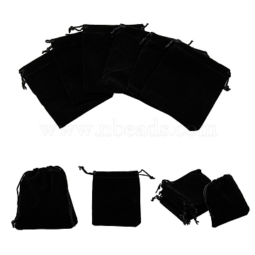 Rectangle Velvet Pouches, Candy Gift Bags Christmas Party Wedding Favors Bags, Black, 12x10cm(TP-R002-10x12-01)