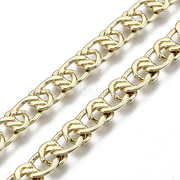 Brass Link Chains, Long-Lasting Plated, Unwelded, Light Gold, 9x5.5x1.5mm(CHC-N018-081)