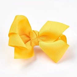 Grosgrain Bowknot Alligator Hair Clips, with Iron Alligator Clips, Gold, 40~50x70~82x25~30mm(PHAR-WH0002-A01)