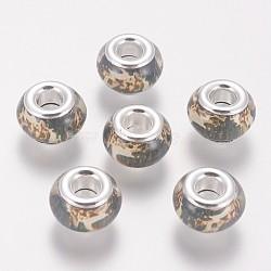 Perles européennes en alliage, avec des noyaux de cuivre, Perles avec un grand trou   , rondelle, argenterie, colorées, 13x8mm, Trou: 4.8mm(RPDL-I001-07)