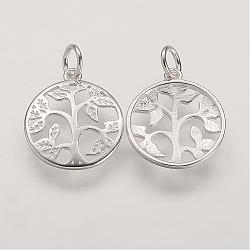 Pendentifs en argent sterling, Plat rond avec arbre de vie arbre, argenterie, 16x14x2mm, Trou: 3mm(STER-K029-01S)