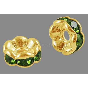 Brass Rhinestone Spacer Beads, Grade A, Wavy Edge, Golden Metal Color, Rondelle, Peridot, 8x3.8mm, Hole: 1mm(X-RB-A014-L8mm-07G)