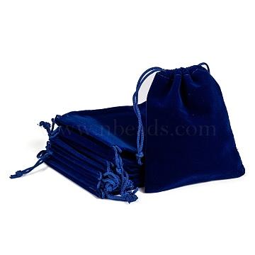 Rectangle Velvet Pouches, Gift Bags, Dark Blue, 12x10cm(X-TP-R002-10x12-03)