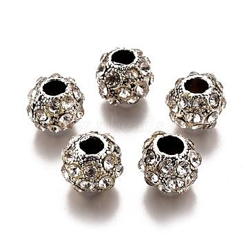 Alloy Rhinestone European Beads, Rondelle, Antique Silver, Crystal, 11~12x9~9.5mm, Hole: 4mm(PALLOY-P144-08F)