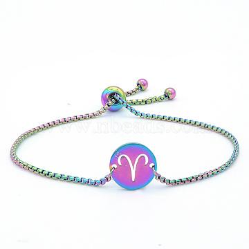 """Bracelets réglables en 201 acier inoxydable, bracelets bolo, avec des chaînes de boîte, plat rond avec constellation / signe du zodiaque, Aries, 9-1/2"""" (24 cm)(STAS-S105-JN664-1)"""