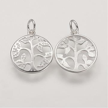 Sterling Silver Pendants, Flat Round with Tree of Life Tree, Silver, 16x14x2mm, Hole: 3mm(STER-K029-01S)