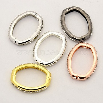 Shortener Clasps, Brass Crystal Rhinestone Twister Clasps, Oval Ring Clasps, Mixed Color, 26x21x4mm(KK-M004-05)