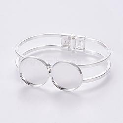 латуни браслет делает, с установкой плоских круглых кабошонов, серебристый цвет, 1-3 / 4 (4.4 см) х 2-3 / 8 (6.1 см); тары: 20 мм(X-MAK-WH0006-01S)