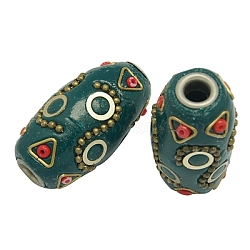 Handmade Indonesia Beads, with Brass Core, Tube, Teal, Size: about 17mm wide, 32mm long, hole: 4.5mm(X-CLAY-G057-1)