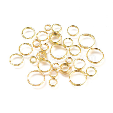 Iron Split Rings, Golden, 4~10x1.4mm, Inner Diameter: 3.3~8.6mm; about 5316pcs/500g(IFIN-JQ0001-03G)