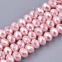 6mm Rose Nacré Rondelle Verre Perles(X-HY-T001-002A-06)