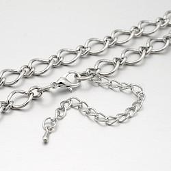 """Fer colliers de chaîne figaro, avec des agrafes en alliage pince de homard et chaînes embouts de fer, platine, 28.3""""(NJEW-J023-15)"""