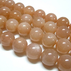 Natural Sunstone Beads Strands, Round, DarkSalmon,  6mm, Hole: 1mm